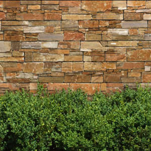 Outdoor stone walling effect